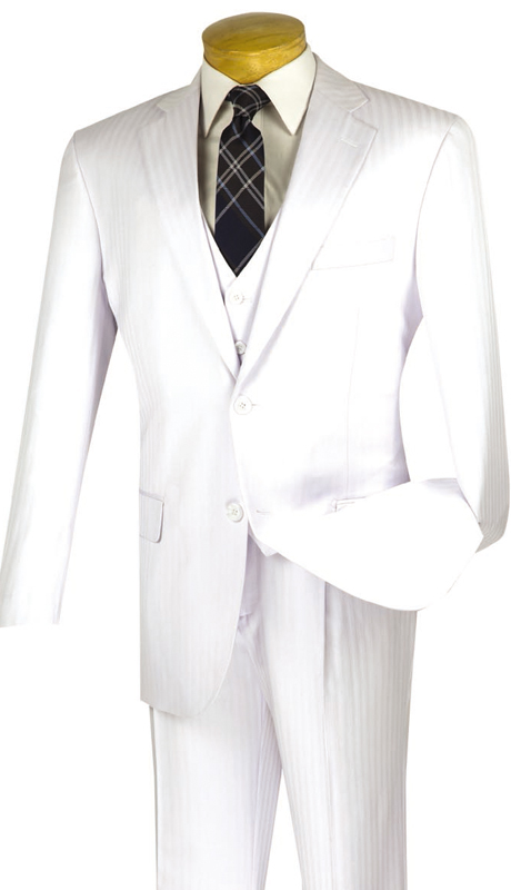 Vinci Mens Suit  V2TT-8-WHT ( 3pc Single Breasted, Two Buttons, Side Vents, Vest, Single Pleated Pants, Tone On Tone Stripe )