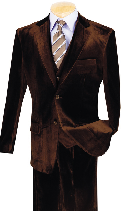 Vinci Mens Suit V2VV-1-COF ( 3pc Single Breasted, Two Buttons, Side Vents, Vest, Single Pleated Pants )