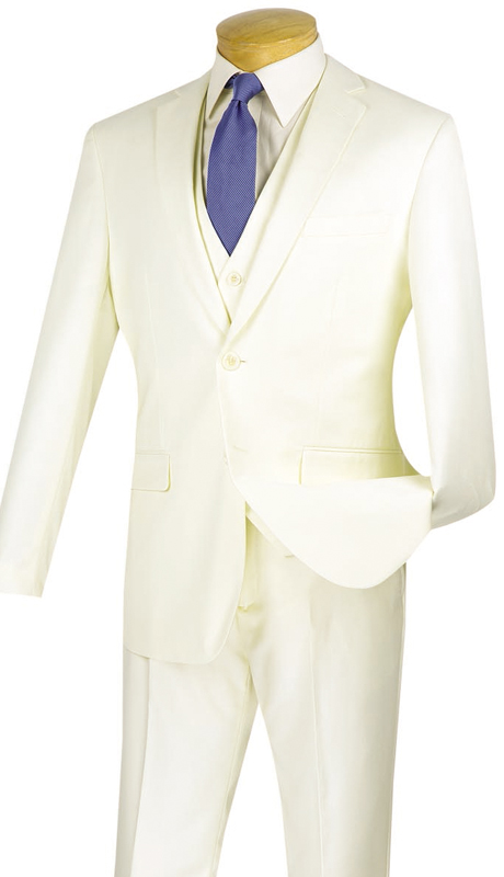 Vinci Mens Suit SV2900-IV ( 3pc Single Breasted, Two Buttons, With Vest, Side Vents, Flat Front Pants, Solid Color )