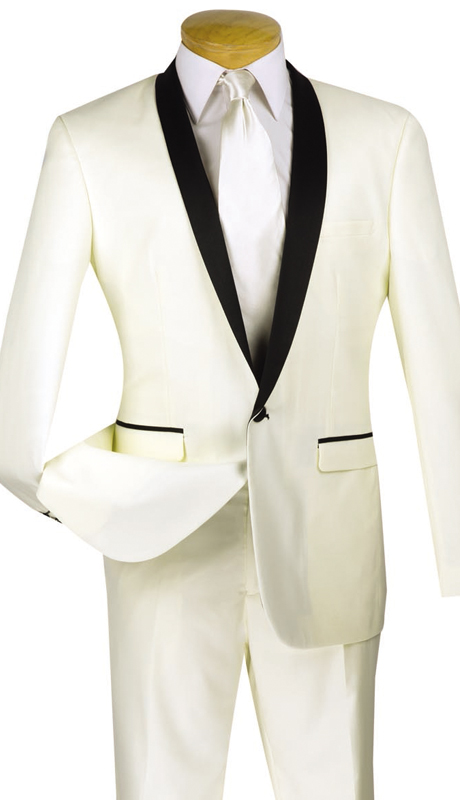 Vinci Mens Suit T-SS-IV ( 2pc Single Breasted, Two Buttons, Narrow Shawl Collar, Side Vents, Flat Front Pants )