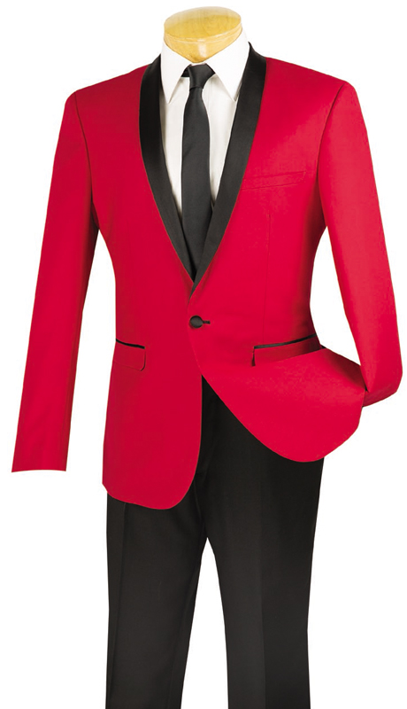 Vinci Mens Suit T-SS-RE ( 2pc Single Breasted, Two Buttons, Narrow Shawl Collar, Side Vents, Flat Front Pants )