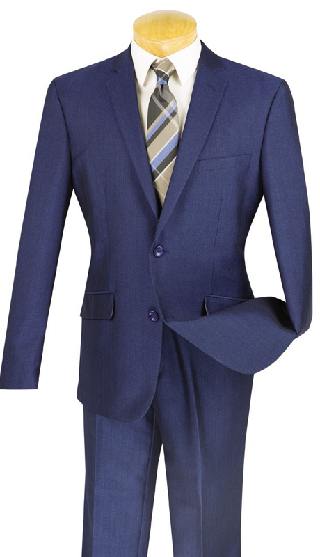 Vinci Mens Suit S2RK-7-BLU ( 2pc Single Breasted, Two Buttons, Side Vents, Flat Front Pants )