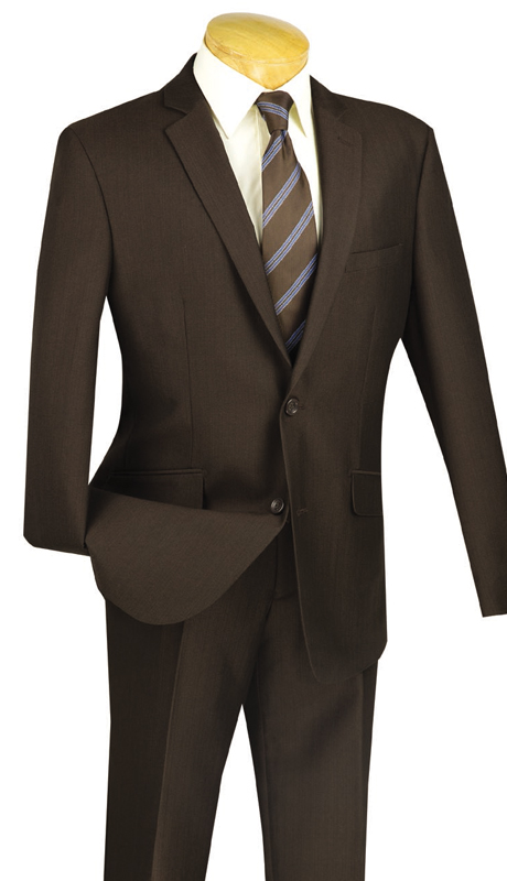 Vinci Mens Suit S2RK-7-BR ( 2pc Single Breasted, Two Buttons, Side Vents, Flat Front Pants )