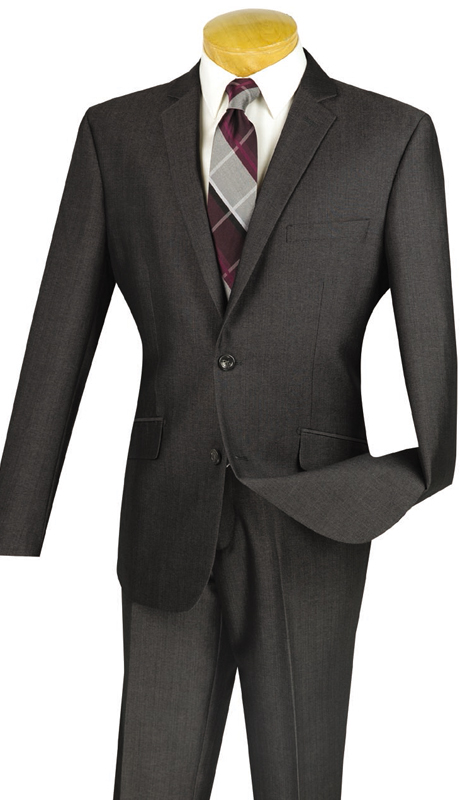 Vinci Mens Suit S2RK-7-SMO ( 2pc Single Breasted, Two Buttons, Side Vents, Flat Front Pants )