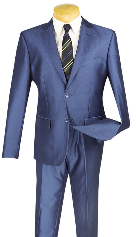 Vinci Mens Suit US2D-7-BLU ( 2pc Single Breasted, Two Buttons, Flat Front Pants )