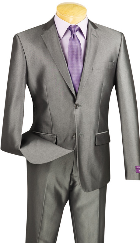Vinci Mens Suit US2D-7-GR ( 2pc Single Breasted, Two Buttons, Flat Front Pants )