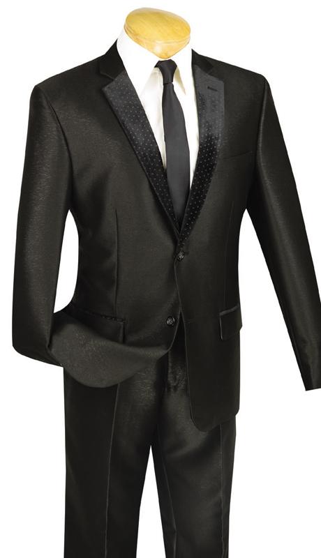 Vinci Mens Suit S2DR-3-BLK ( 2pc Single Breasted, Two Buttons, Fancy Lapel, Side Vents, Flat Front Pants )
