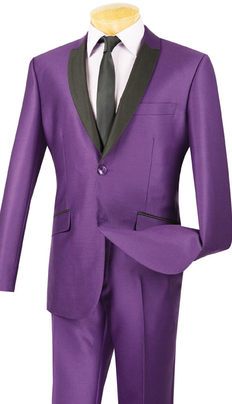 Vinci Mens Suit S2PS-1-PUR ( 2pc Single Breasted, Two Buttons, With Trimmed Shawl Lapel, Side Vents, Flat Front Pants, Shark Skin )