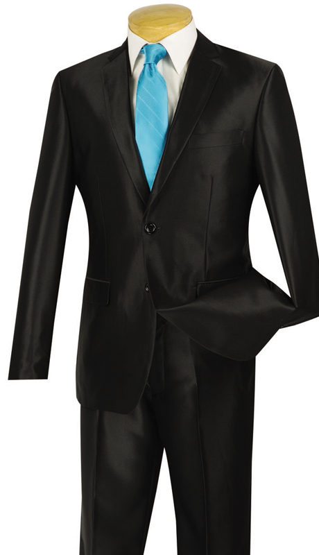 Vinci Mens Suit S2RK-5-BLK  ( 2pc Single Breasted, Two Buttons, Side Vents, Flat Front Pants, SharkSkin )