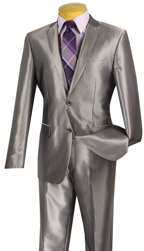 Vinci Mens Suit 2RK-5-GR  ( 2pc Single Breasted, Two Buttons, Side Vents, Flat Front Pants, SharkSkin )