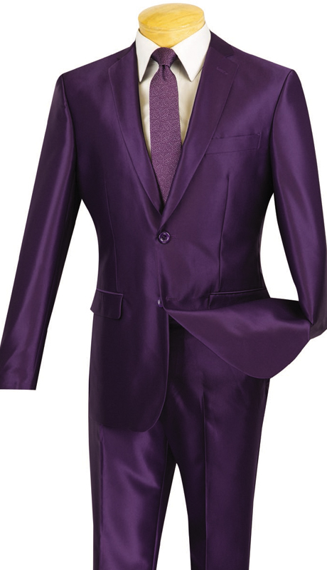 Vinci Mens Suit S2RK-5-PUR ( 2pc Single Breasted, Two Buttons, Side Vents, Flat Front Pants, SharkSkin )