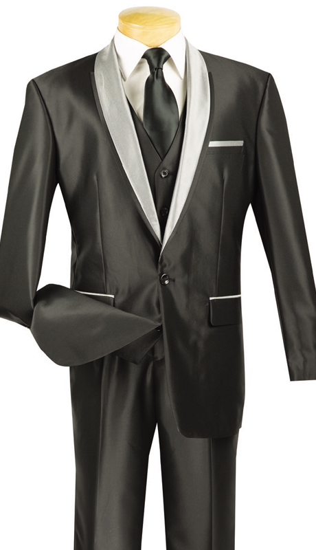 Vinci Mens Suit S-RR-BLK ( 3pc Single Breasted, One Button, Side Vents, Vest, Single Pleated Pants, SharkSkin )