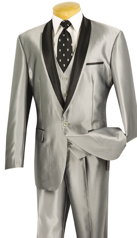 Vinci Mens Suit S-RR-GR ( 3pc Single Breasted, One Button, Side Vents, Vest, Single Pleated Pants, SharkSkin )