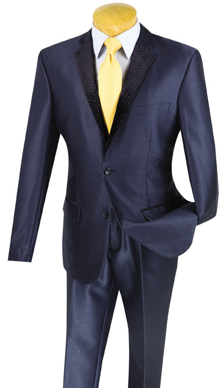 Vinci Mens Suit S2DR-3-NA ( 2pc Single Breasted, Two Buttons, Fancy Lapel, Side Vents, Flat Front Pants )