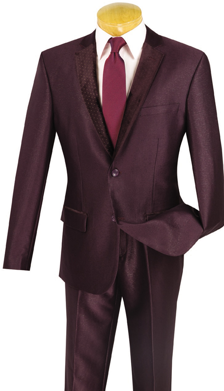 Vinci Mens Suit S2DR-3-PLU ( 2pc Single Breasted, Two Buttons, Fancy Lapel, Side Vents, Flat Front Pants )