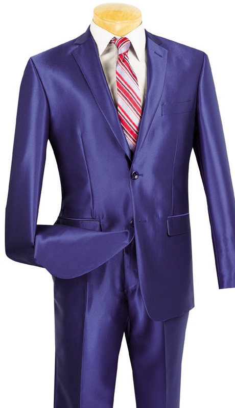 Vinci Mens Suit S2RK-5-BLU  ( 2pc Single Breasted, Two Buttons, Side Vents, Flat Front Pants, SharkSkin )
