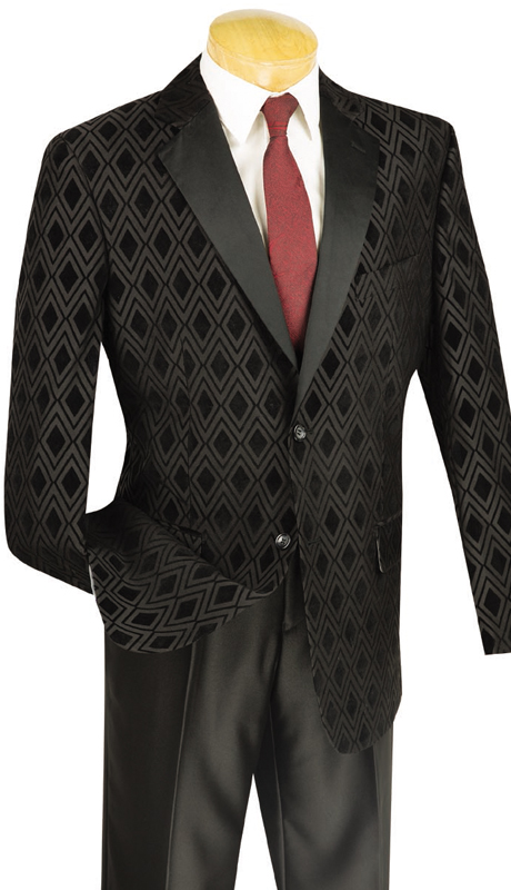Vinci Mens Suit T-DV-BLK ( 2pc Single Breasted, Two Buttons, Flat Front Pants )