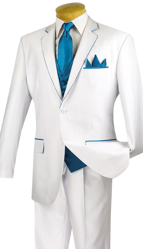 Vinci Mens Suit 23SS-4-WT ( 5pc Single Breasted Two Buttons, Trimmed Jacket With Fancy Vest, Flat Front Pants )