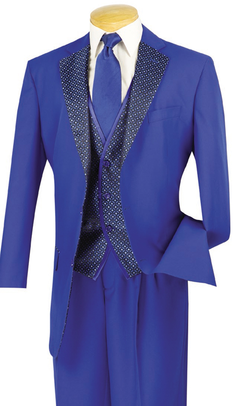 Vinci Mens Suit 23PD-2-BLU ( 3pc Single Breasted, Two Buttons, Trimmed Lapel, Side Vents, Vest, Single Pleated Pants )