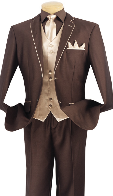 Vinci Mens Suit 23SS-4-BB ( 5pc Single Breasted Two Buttons, Trimmed Jacket With Fancy Vest, Flat Front Pants )