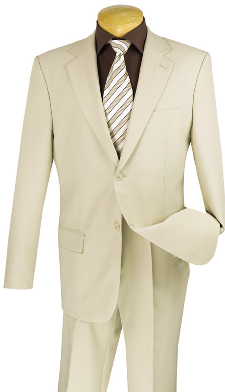Vinci Mens Suit 2PP-BE ( New Basic Suit 2 Piece Collection, 100% Poplin Dacron, Single Breasted 2 Button, Flat Front Pants, Solid Color )