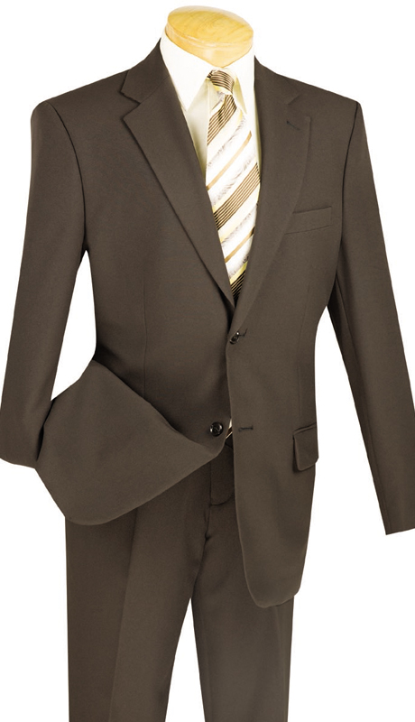 Vinci Mens Suit 2PP-BWN ( New Basic Suit 2 Piece Collection, 100% Poplin Dacron, Single Breasted 2 Button, Flat Front Pants, Solid Color )
