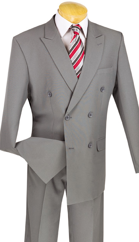 Vinci Mens Suit DPP-GRY ( 2pc Poplin Dacron, Double Breasted, 6x2, Solid Color )