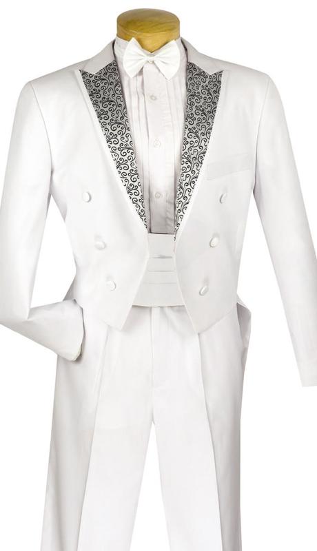 Vinci Mens Suit T-AX-WHT ( 4pc Tuxedo, Single Pleated Pants With Waistband )