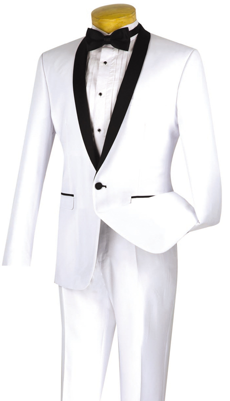 Vinci Mens Suit T-SS--WHT ( 2pc Single Breasted, Two Buttons, Narrow Shawl Collar, Side Vents, Flat Front Pants )