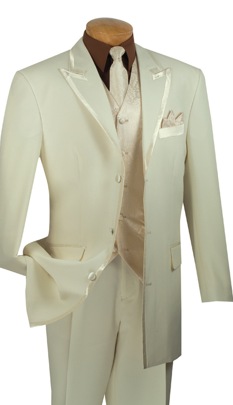 Vinci Mens Suit 33RR-4-IV ( 5pc Single Breasted Three Button Jacket, Side Vents, Solid Color Jacket, Pleated Pants )