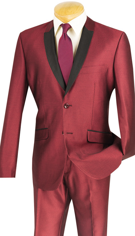 Vinci Mens Suit S2PS-1-MAR ( 2pc Single Breasted, Two Buttons, With Trimmed Shawl Lapel, Side Vents, Flat Front Pants, Shark Skin )