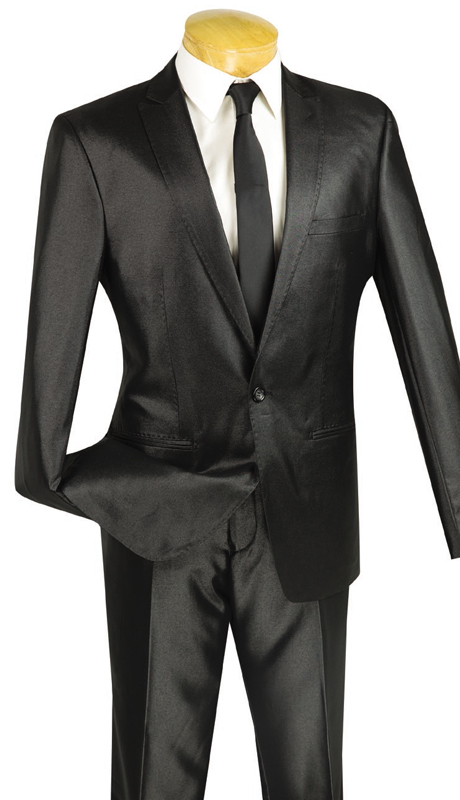 Vinci Mens Suit US1R-2-BLK  ( 2pc Single Breasted, One Button, Peak Lapel, Center Vent, Flat Front Pants, SharkSkin )