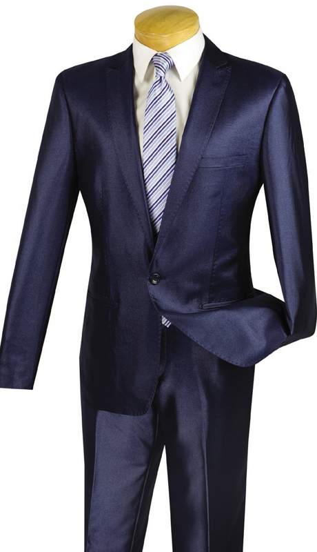 Vinci Mens Suit US1R-2-NA  ( 2pc Single Breasted, One Button, Peak Lapel, Center Vent, Flat Front Pants, SharkSkin )