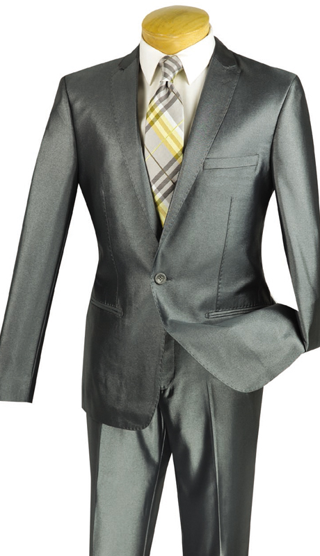 Vinci Mens Suit US1R-2-SIL  ( 2pc Single Breasted, One Button, Peak Lapel, Center Vent, Flat Front Pants, SharkSkin )