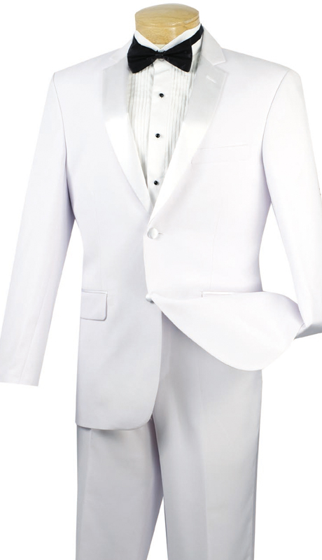Vinci Mens Tuxedo T-900-WHT  ( 2pc Single Breasted, Two Buttons, Side Vents, Flat Front Pants, Solid Color )