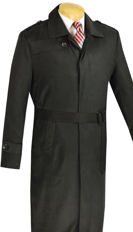 Vinci Mens Suit TC48-2-BLK ( 1pc Full Length Trench Coat, Belt, Water Proof, Solid Color )
