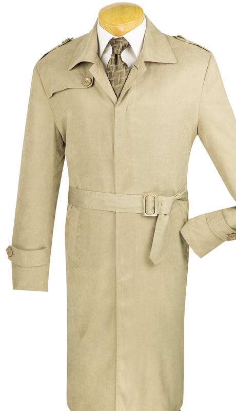 Vinci Mens Suit TC48-2-KHA ( 1pc Full Length Trench Coat, Belt, Water Proof, Solid Color )