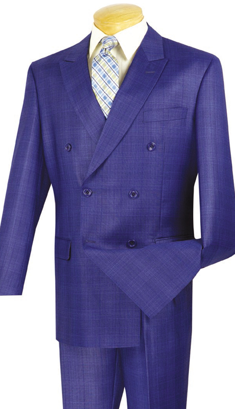 Vinci Mens Suit DRW-1-BLU  ( 2pc Double Breasted, Side Vents, Pleated Pants, Glen Plaid )