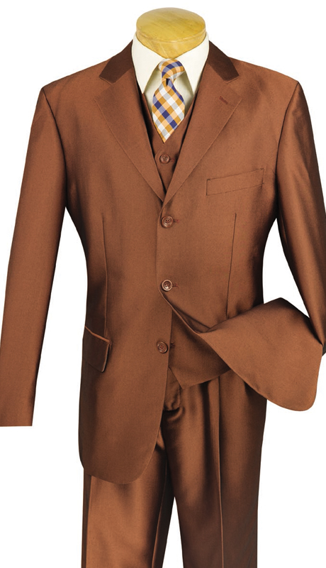 Vinci Mens Suit V3RR-4-AM ( 3pc Single Breasted, Three Buttons,  Side Vents, Pleated Pants, Shark Skin )