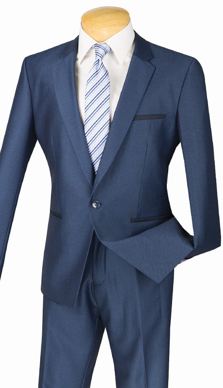 Vinci Mens Suit US1X-8-BLU ( 2pc Single Breasted, One Button, Center Vent, Flat Front Pants And Textured Weave )
