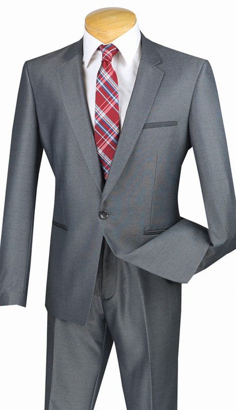 Vinci Mens Suit US1X-8-GRA ( 2pc Single Breasted, One Button, Center Vent, Flat Front Pants And Textured Weave )