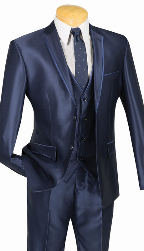 Vinci Mens Suit USVR-4 ( 3pc Single Breasted, Two Buttons, Center Vent, Flat Front Pants, SharkSkin )