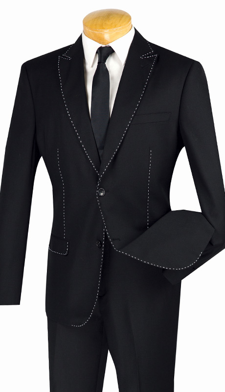 Vinci Mens Suit S2MS-1-BLK ( 2pc Single Breasted, Two Buttons, Contrast Stitch, Side Vents And Flat Front Pants, Luxurious Wool Feel )