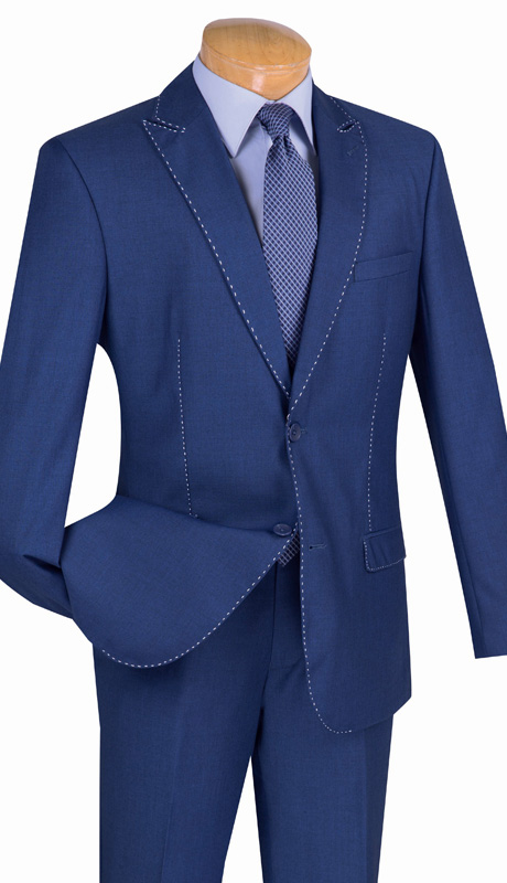 Vinci Mens Suit S2MS-1-BLU ( 2pc Single Breasted, Two Buttons, Contrast Stitch, Side Vents And Flat Front Pants )