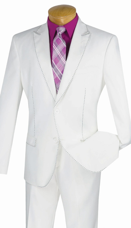 Vinci Mens Suit S2MS-1-WH ( 2pc Single Breasted, Two Buttons, Contrast Stitch, Side Vents And Flat Front Pants )