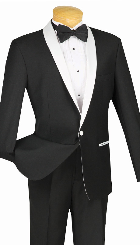 Vinci Mens Suit S1SH-2-WB ( 2pc Single Breasted, One Button, Shawl Lapel With Side Vents, Flat Front Pants, Solid Color )