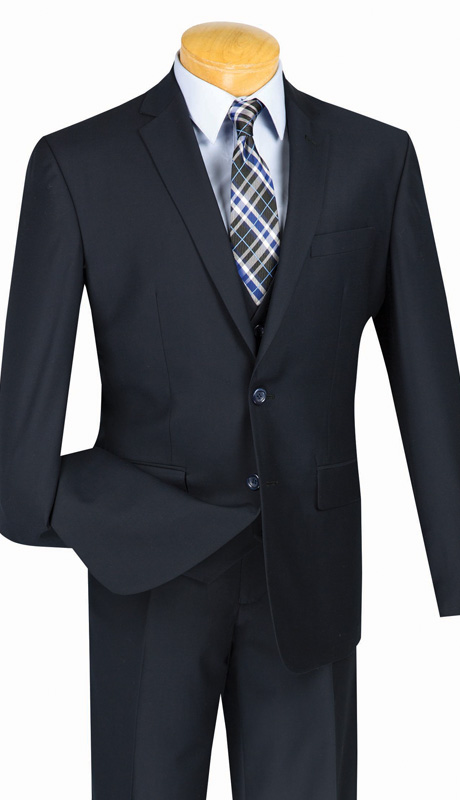 Vinci Mens Suit SV2900-NA ( 3pc Single Breasted, Two Buttons, With Vest, Side Vents, Flat Front Pants, Solid Color )