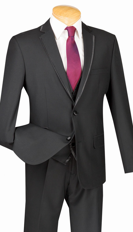 Vinci Mens Suit SV2T-8-BLK ( 3pc Single Breasted Tuxedo With Vest, Two Buttons, With Vest, Side Vents, Flat Front Pants, Textured Solid )