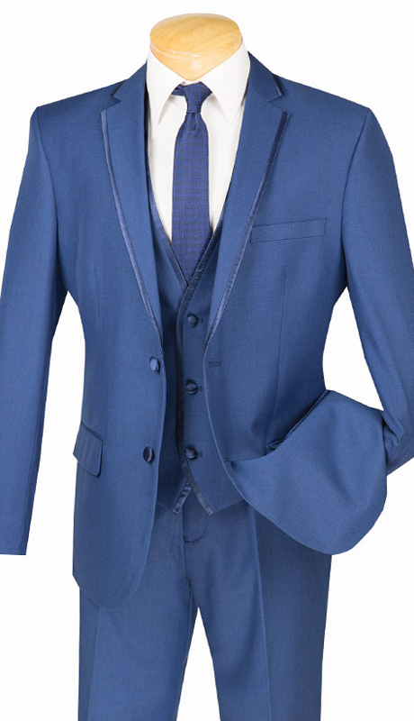 Vinci Mens Suit SV2T-8-BLU ( 3pc Single Breasted Tuxedo With Vest, Two Buttons, With Vest, Side Vents, Flat Front Pants, Textured Solid )