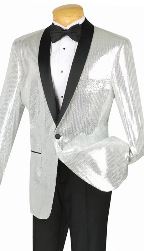 Vinci Mens Suit BSQ-1-SIL ( 1pc Single Breasted, One Button, Side Vents, Shawl Collar Sequins, Sports Coat )